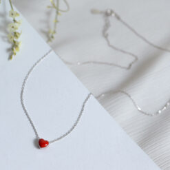 [925純銀]紅色愛心滴油鎖骨鏈
