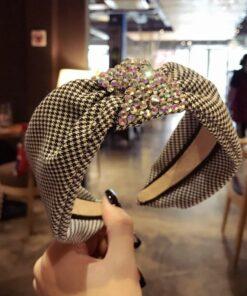 甜美千鳥格鑲鉆簡約寬邊頭箍