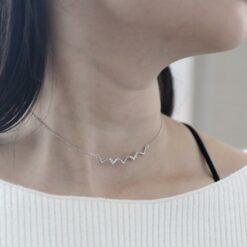 [925純銀]波浪鑲鑽鎖骨項鍊