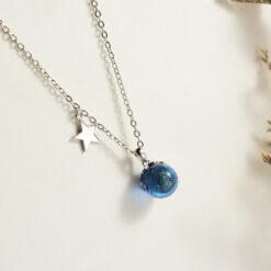 [925純銀]五角星藍水晶魔球項鏈