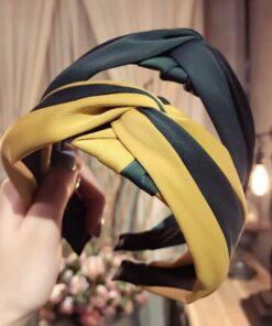 布藝條紋撞色寬邊蝴蝶結頭箍