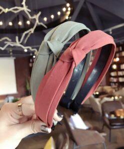 韩国新款品质纯色布艺双层侧面打结拧结蝴蝶结细款带齿防滑发箍女