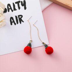[925銀針]甜美長款聖誕樹毛球耳環