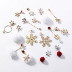 [鋼針]聖誕節甜美雪花珍珠耳環