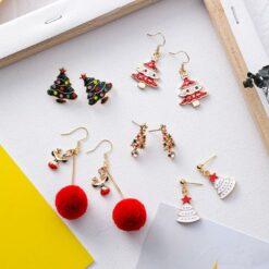 [合金]甜美麋鹿聖誕樹耳環