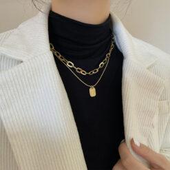 [銅]小眾設計長款百搭雙層疊戴項鏈