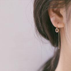 [925純銀]氣質耳鏈長款耳線