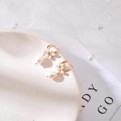 [925純銀]簡約天然淡水米粒珍珠耳釘