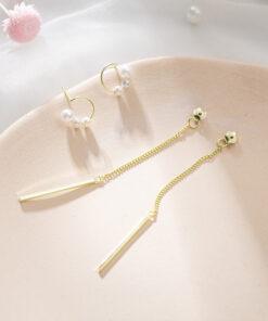 [925純銀]少女珍珠圓圈流蘇耳環
