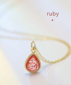 [925純銀]胭脂紅寶石水滴項鏈