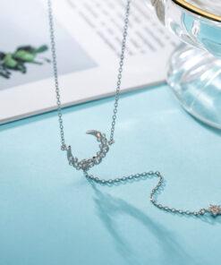 [925純銀]設計月亮五角星項鏈