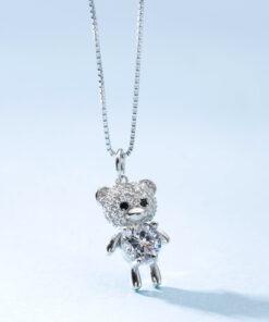 [925純銀]可愛童心鑲鉆鋯小熊項鏈