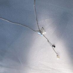 [925純銀]冷淡風蝴蝶珍珠流蘇項鏈