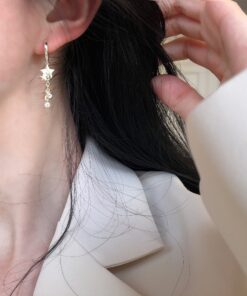 [925純銀]亮片星星鋯石流蘇耳環