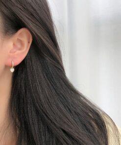 [925純銀]精致氣質愛心貝殼耳環