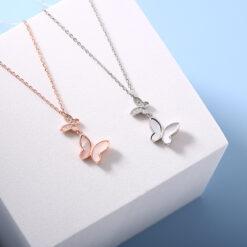 [925純銀]精致鑲鉆蝴蝶貝殼項鏈