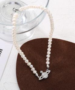 [925純銀]時尚土星珍珠項鏈