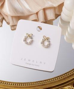 [鋼針]百搭鋯石蝴蝶結珍珠花環耳環