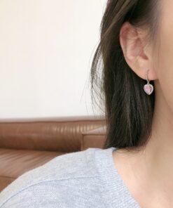 [925純銀]高級感粉鉆愛心耳環