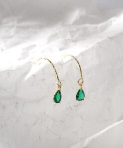 [925純銀]綠色水滴簡約祖母綠耳環