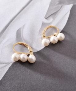 [925純銀]三顆珍珠設計感耳環