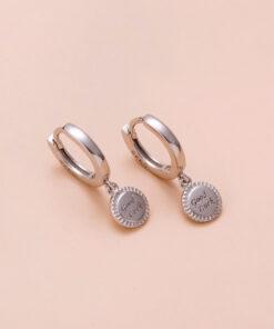 [925純銀]簡約小圓牌字母耳環