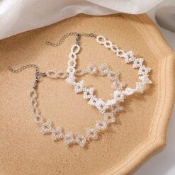 [合金]復古串珠水晶珍珠項鏈