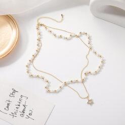 [合金]輕奢五角星星雙層珍珠項鏈