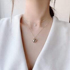 [合金]簡約金色愛心雙層項鏈