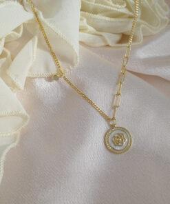 [925純銀]項鏈耳釘園牌重工輕奢貝殼鎖骨鏈