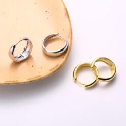[925純銀]簡約百搭光面耳環