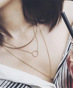 [合金]個性多層柳釘圓圈項鏈