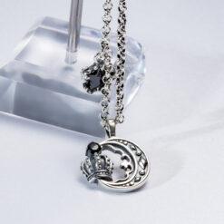 [925純銀]復古皇冠月亮項鏈