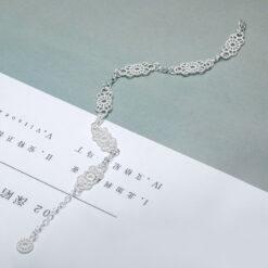 [925純銀]甜美蕾絲鏤空手鏈