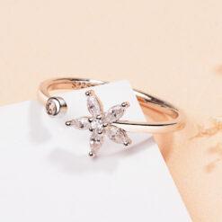 [銅]鋯石花朵開口戒指