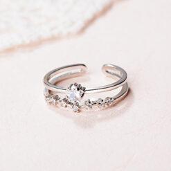 [銅]微鑲閃鑽雙層星星開口戒指