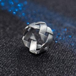 [925純銀]復古做舊多層編織交叉戒指