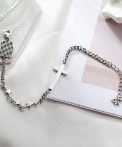 [925純銀]簡約復古風十字架手鍊