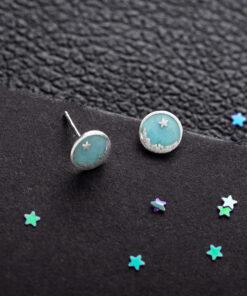 [925純銀]簡約藍天星空耳釘