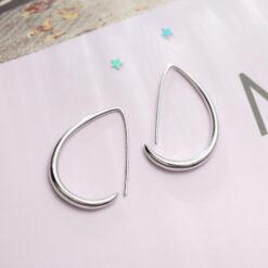 [925純銀]幾何半圓形耳環