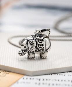 [925純銀]吉祥小象復古做舊項鍊