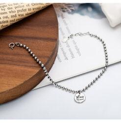 [925純銀]簡約圓牌珠子手鍊
