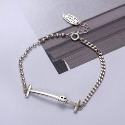 [925純銀]復古做舊笑臉手鍊