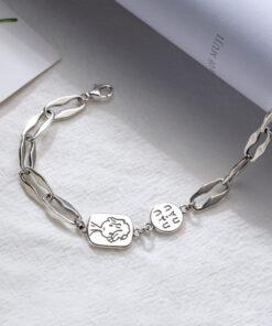 [925純銀]復古做舊幾何鏈條女孩人像手鍊