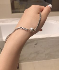 [925純銀]圓珠鍊條手鍊