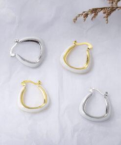 [925純銀]時尚復古琺瑯圓圈耳環