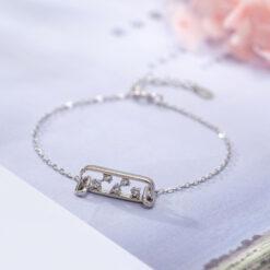 [925純銀]簡約百搭鑲鑽鏤空鋯石可調節手鍊