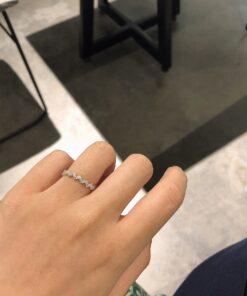 [925純銀]個性鑲鉆波浪戒指