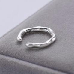 [925純銀]冷淡風不規則異形流動波浪開口戒指