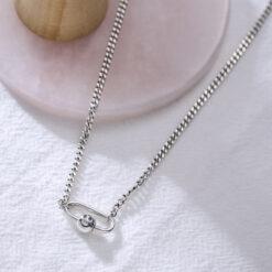 [925純銀]別針笑臉圓珠項鍊